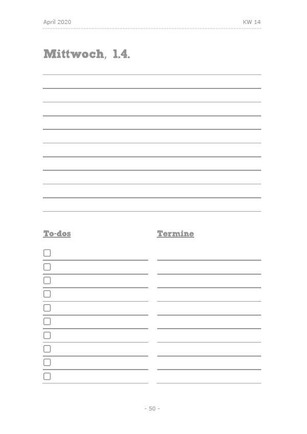 Studi-Kalender - Sommersemester 2020: Tagesplanung