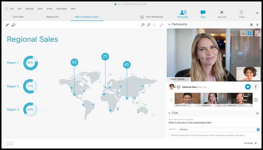 Mit der Collaboration-Software von Cisco Webex kannst du innerhalb deiner Lerngruppe Videokonferenzen organisieren. Mit diesem digitalen Tool von Cisco kannst du mit deinen Kommilitonen zudem Telfonkonferenzen veranstalten und Bildschirme für Präsentationen teilen.