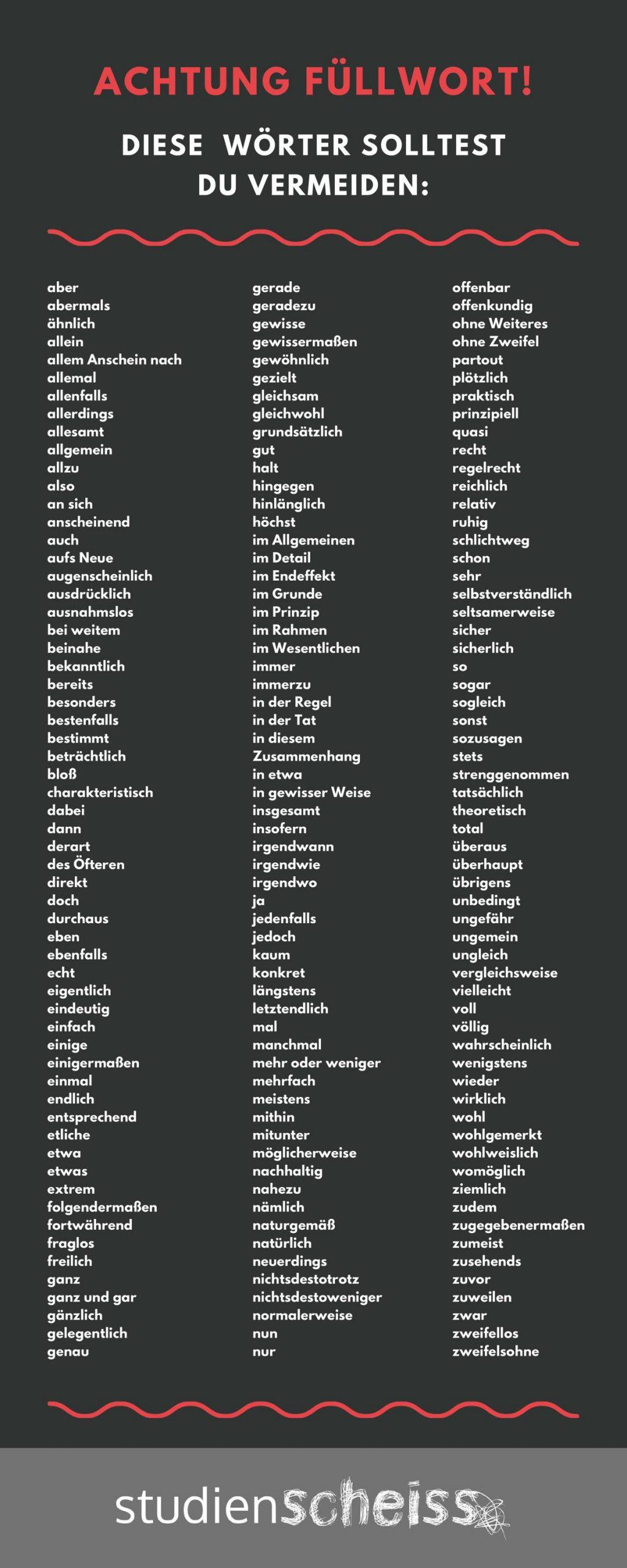 Alle Füllwörter im Überblick